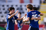 Osako Yuya of Japan celebrates scoring his second goal with teammates during the AFC Asian Cup UAE 2019 Group F match between Japan (JPN) and Turkmenistan (TKM) at Al Nahyan Stadium on 09 January 2019 in Abu Dhabi, United Arab Emirates. Photo by Marcio Rodrigo Machado / Power Sport Images