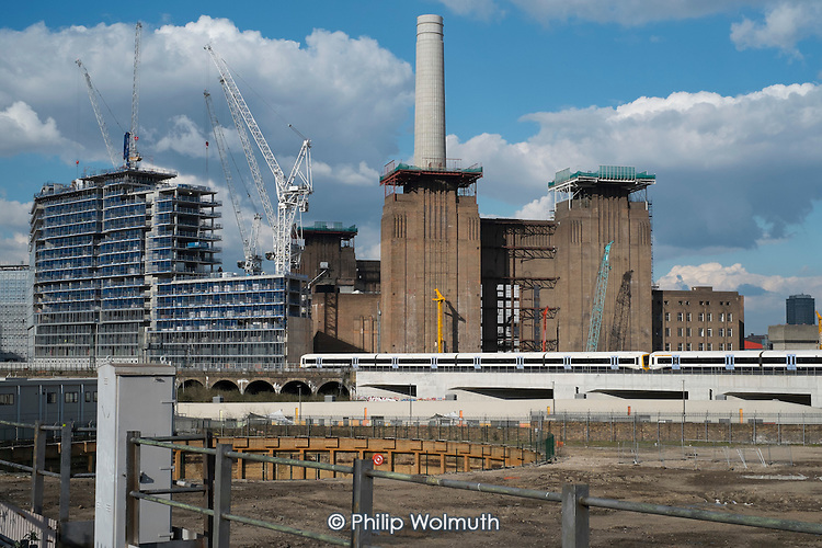 Battersea Power Station development in the 480 acre Nine Elms regeneration zone, London.  The zone will include two new tube stations, a new US Embassy building, and 20,000 new  homes with prices up to £9 million.