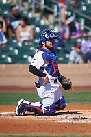 Surprise Saguaros catcher Matt Whatley (25), of the Texas Rangers organization, during the Arizona Fall League Championship Game against the Salt River Rafters on October 26, 2019 at Salt River Fields at Talking Stick in Scottsdale, Arizona. The Rafters defeated the Saguaros 5-1. (Zachary Lucy/Four Seam Images)