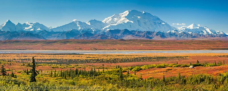 Panorama of hiker and autumn tent camp overlooking Denali,  Denali National Park, Alaska.