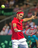 Switserland, Genève, September 18, 2015, Tennis,   Davis Cup, Switserland-Netherlands, Roger Federer (SUI)<br /> Photo: Tennisimages/Henk Koster