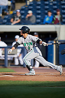 Clinton LumberKings second baseman Bryson Brigman (8) follows through on a swing during a game against the West Michigan Whitecaps on May 3, 2017 at Fifth Third Ballpark in Comstock Park, Michigan.  West Michigan defeated Clinton 3-2.  (Mike Janes/Four Seam Images)