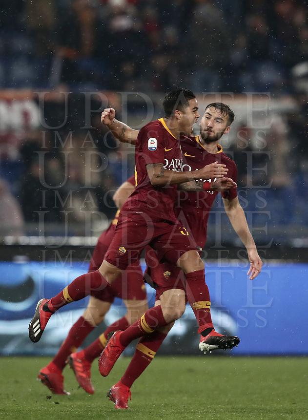 Football, Serie A: AS Roma - Genoa, Olympic stadium, Rome, December 16, 2018. <br /> Roma's Justin Kluivert (l) celebrates after scoring with his teammate Bryan Cristante (r) during the Italian Serie A football match between Roma and Genoa at Rome's Olympic stadium, on December 16, 2018.<br /> UPDATE IMAGES PRESS/Isabella Bonotto
