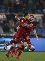 Football, Serie A: AS Roma - Genoa, Olympic stadium, Rome, December 16, 2018. <br /> Roma&rsquo;s Justin Kluivert (l) celebrates after scoring with his teammate Bryan Cristante (r) during the Italian Serie A football match between Roma and Genoa at Rome's Olympic stadium, on December 16, 2018.<br /> UPDATE IMAGES PRESS/Isabella Bonotto