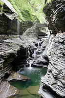 WATKINS GLEN<br /> Cascading Water<br /> A 1 1/2 mile gorge that was initially a creek left by a glacier that melted around 10,000 years ago.  Shale, limestone and sandstone carved by water erosion of fractures (joints) that become ledges that erode further into cascading waterfalls.