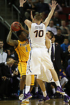 Northern Iowa's Seth Tuttle (10) and Matt Bohannon (5) pressures Wyoming's Charles Hankerson (1) during their 2015 NCAA Division I Men's Basketball Championship March 20, 2015 at the Key Arena in Seattle, Washington.   Northern Iowa beat Wyoming 71 to 54.   ©2015.  Jim Bryant Photo. All Rights Reserved.