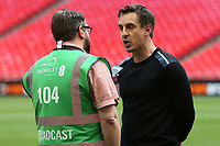 Gary Neville is interviewed on the pitch after the final whistle during AFC Fylde vs Salford City, Vanarama National League Football Promotion Final at Wembley Stadium on 11th May 2019