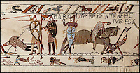 BNPS.co.uk (01202 558833).Pic: PeterWillows/BNPS..A Normans Conquest.....One in the eye for poor King Harold...Norman nut Andy Wilkinson has spent an astonishing 18 year's sewing a 40ft long copy of the Bayeux Tapestry...Despite not having picked up a needle and thread before, Andy, a member of a historical reenactment group, started the project as a way of decorating his Norman tent during long wet weekends at festivals...But the increasingly large strip of embroidery soon outgrew Andy's tent, and the engineer from Chatham is now hoping the Battle Abbey museum near Hastings will display his amazing work...Andy, 51, has spent more than 10,000 hours sewing the tapestry, that is now longer than a tennis court and is just under a foot high...It is a 2:1 scale version of the actual embroidery that is exhibited in the Normandy town of Bayeux.