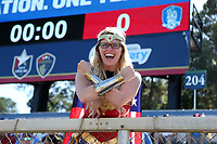 Cary, NC - Sunday October 22, 2017: A U.S. fan dressed as Wonder Woman prior to an International friendly match between the Women's National teams of the United States (USA) and South Korea (KOR) at Sahlen's Stadium at WakeMed Soccer Park. The U.S. won the game 6-0.
