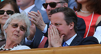 OIC - ENTSIMAGES.COM -   David Cameron watches Andy Murray of Great Britain celebrates his win in the Gentlemen's Singles Final match against Novak Djokovic of Serbia of the Wimbledon Lawn Tennis Championships at the All England Lawn Tennis and Croquet Club 7th July 2013     Photo Ents Images/OIC 0203 174 1069