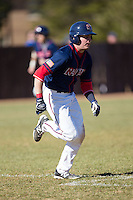 Grant Hoover (18) of the Shippensburg Raiders hustles down the first base line against the Belmont Abbey Crusaders at Abbey Yard on February 8, 2015 in Belmont, North Carolina.  The Raiders defeated the Crusaders 14-0.  (Brian Westerholt/Four Seam Images)