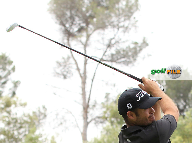Carlos Aguilar (ESP) on the 14th tee during Round 1 of the Open de Espana  in Club de Golf el Prat, Barcelona on Thursday 14th May 2015.<br /> Picture:  Thos Caffrey / www.golffile.ie