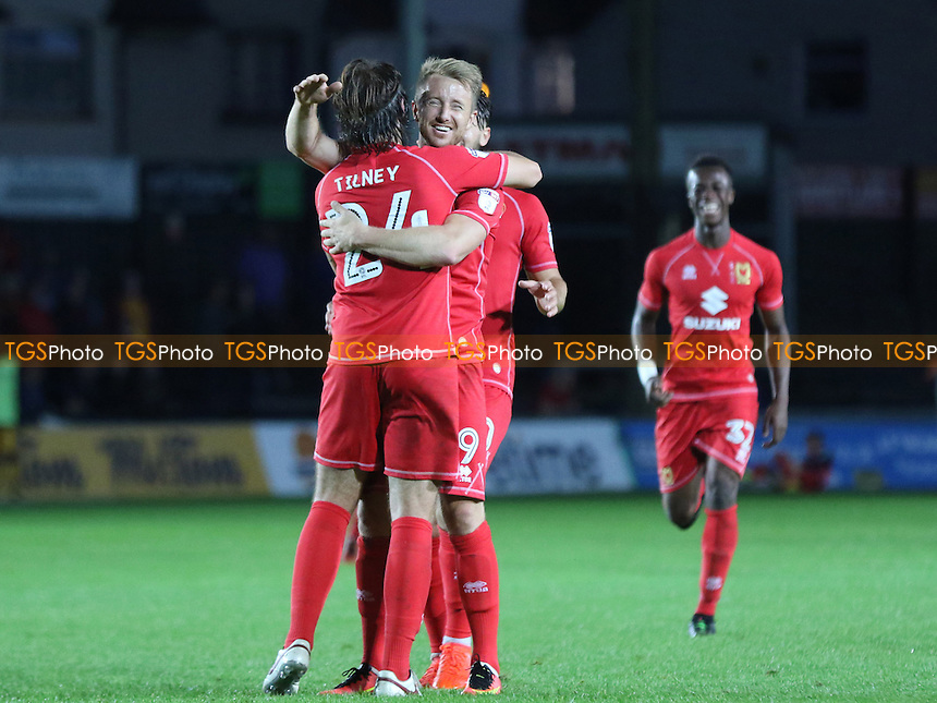 MK Dons celebrate their second goal during Newport County vs MK Dons, EFL Cup Football at Rodney Parade on 9th August 2016