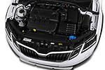 Car stock 2017 Skoda Octavia Combi Scout 5 Door Wagon engine high angle detail view