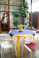 Outdoor patio in a Polish pub. Lutomierska Street Balucki District Lodz Central Poland