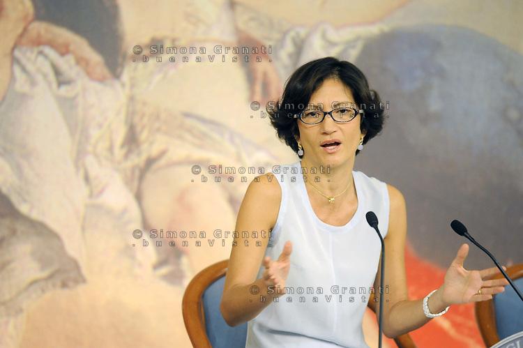 Roma, 31 Agosto 2011.Palazzo Chigi.Conferenza stampa della ministra dell'istruzione ,università e ricerca Mariastella Gelmini per presentare l'anno scolastico 2011-2012..