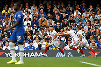 GOAL - Callum Robinson of Sheffield United celebrates his goal during the Premier League match between Chelsea and Sheff United at Stamford Bridge, London, England on 31 August 2019. Photo by Carlton Myrie / PRiME Media Images.