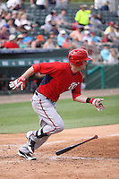 Caleb Ramsey (28) at bat for the Washington Nationals during a spring training game against the Miami Marlins at the Roger Dean Complex in Jupiter, Florida on March 10, 2015. Miami defeated Washington 2-1. (Stacy Jo Grant/Four Seam Images)
