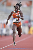Morolake Akinosun of Texas competes in 100 meter prelims during West Preliminary Track and Field Championships, Friday, May 29, 2015 in Austin, Tex. (Mo Khursheed/TFV Media via AP Images)