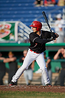 Batavia Muckdogs designated hitter Michael Donadio (7) at bat during a game against the West Virginia Black Bears on July 2, 2018 at Dwyer Stadium in Batavia, New York.  West Virginia defeated Batavia 3-1.  (Mike Janes/Four Seam Images)