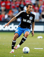 San Jose midfielder Ramiro Corrales (12) makes a move.  The Chicago Fire tied the San Jose Earthquakes 0-0 at Toyota Park in Bridgeview, IL on June 28, 2008.