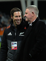 All Blacks manager Darren Shand chats with NZ Rugby chief executive Steve Tew after the Rugby Championship and Bledisloe Cup rugby match between the New Zealand All Blacks and Australia Wallabies at Forsyth Barr Stadium in Dunedin, New Zealand on Saturday, 26 August 2017. Photo: Dave Lintott / lintottphoto.co.nz