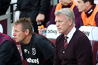 West Ham United manager David Moyes and assistant Stuart Pearce during West Ham United vs Manchester United, Premier League Football at The London Stadium on 10th May 2018