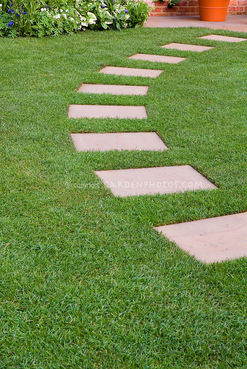 Stepping Stone Path In Perfect Lawn Grass Plant Amp Flower