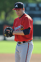 Pitcher John Cornely (9) of the Atlanta Braves farm system in a Minor League Spring Training workout on Tuesday, March 17, 2015, at the ESPN Wide World of Sports Complex in Lake Buena Vista, Florida. (Tom Priddy/Four Seam Images)
