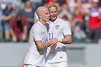 Carson, CA - Sunday, February 8, 2015: Michael Bradley (4) and Brek Shea (11) of the USMNT. The USMNT defeated Panama 2-0 during an international friendly at the StubHub Center