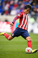 Erick Torres (9) of Chivas USA. The New York Red Bulls and Chivas USA played to a 1-1 tie during a Major League Soccer (MLS) match at Red Bull Arena in Harrison, NJ, on March 30, 2014.