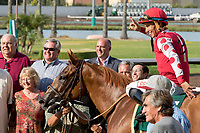 CYPRESS, CA. JULY 8:Tiago Pereira holds up two fingers after winning the Great Lady M Stakes (Grade ll) on #5 Skye Diamonds on  July 8, 2017 at Los Alamitos Race Course in Cypress, CA (Photo by Casey Phillips/Eclipse Sportswire/Getty Images)