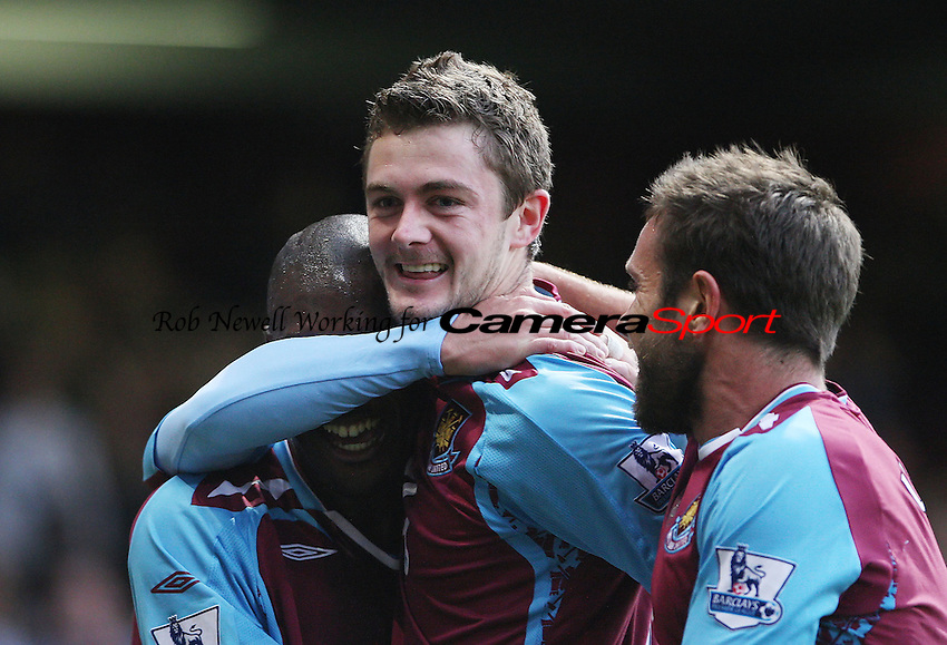 George McCartney is congratulated by Luis Boa Morte and Matthew Upson after he had put West Ham into the lead - West Ham Utd vs Bolton Wanderers - Barclays Premier League at Upton Park, West Ham - 04/11/07 - MANDATORY CREDIT: Rob Newell