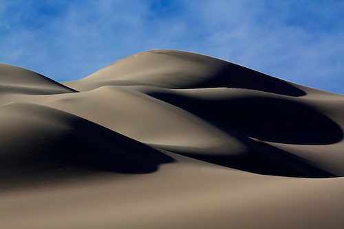 Parallel lines are formed through erosion of the sand at Eureka Dunes at Death Valley National Park, California.