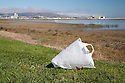 "A plastic bag on the ground at Bayfront Park. Volunteers in the City of Millbrae participated in California Coastal Cleanup Day on 9/19/09. Participants cleaned up inland locations throughout the city as well as at Bayfront Park on the San Francisco Bay shoreline. The inland cleanup efforts were important because, according to the California Coastal Commission, ""past Coastal Cleanup Day data tell us that most (between 60-80 percent) of the debris on our beaches and shorelines comes from inland sources, traveling through storm drains or creeks out to the beaches and ocean. Rain or even something as simple as hosing down a sidewalk can wash cigarette butts, bits of styrofoam, pesticides, and oil into the storm drains and out to the ocean."" The California Coastal Cleanup Day (http://www.coastal.ca.gov/publiced/ccd/ccd.html) is sponsored by the California Coastal Commission and is a part of the International Coastal Cleanup organized by The Ocean Conservancy."