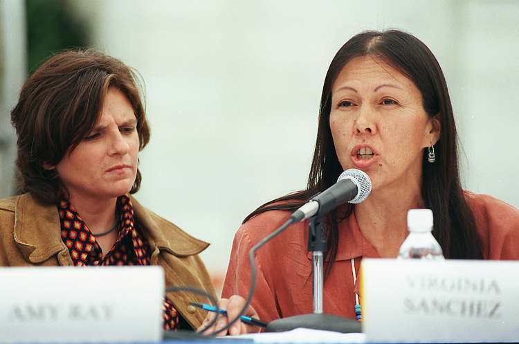 9/24/97.NUCLEAR WASTE--Virginia Sanchez, right, of Honor the Earth,  sponsor of a 21-concert tour of the Indigo Girls, and Indigo Girl Amy Ray at a press conference on the West Terrace of the Capitol in opposition to H.R. 1270, the Nuclear Waste Policy Act of 1997, which would allow for the transfer of radioactive waste to Yucca Mountain, Nevada. Nevada Democratic Sens. Harry Reid and Richard Bryan also attended..CONGRESSIONAL QUARTERLY PHOTO BY SCOTT J. FERRELL