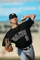 Brian Burres of the San Jose Giants throws in the bullpen before a 2004 season California League game against the Inland Empire 66ers at San Manuel Stadium in San Bernardino, California. (Larry Goren/Four Seam Images)