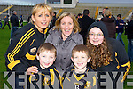 Dr Crokes fans l-r: Martina O'Shea, Conor O'Shea, Frances O'Sullivan, TJ O'Sullivan and Shannon O'Shea celebrate Crokes victory over Rathmore in  the O'Donoghue Cup final in Fitzgerald Stadium on Sunday..