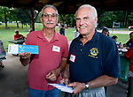 WOODBURY,  CT-072418JS24--Woodbury Lions Club members Joe Mylie and Dave Ahouse at the Woodbury Lions Club Appreciation Picnic held at Hollow Park. The Lions Club wanted to thank people and volunteers who have supported their organization. More than 100 people were invited to the event. <br /> Jim Shannon Republican American