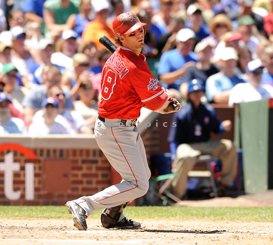 KEVIN FRANDSEN, of the Los Angeles Angels, in action during the Angels game against the Chicago Cubs at Wrigley Field in Chicago, IL on June 19, 2010.  ..The Angels won the game 12-0...