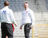 20140407 - BRUSSELS , BELGIUM : Czech coach Petr Cermak pictured during the female soccer match between CZECH REPUBLIC U19 and BELGIUM U19 , in the second game of the Elite round in group 4 in the UEFA European Women's Under 19 competition 2014 in the Koning Boudewijn Stadion , Monday 7 April 2014 in Brussels . PHOTO DAVID CATRY