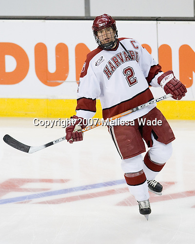Dylan Reese (Harvard - 2) - The Northeastern University Huskies defeated the Harvard University Crimson 3-1 in the Beanpot consolation game on Monday, February 12, 2007, at TD Banknorth Garden in Boston, Massachusetts.