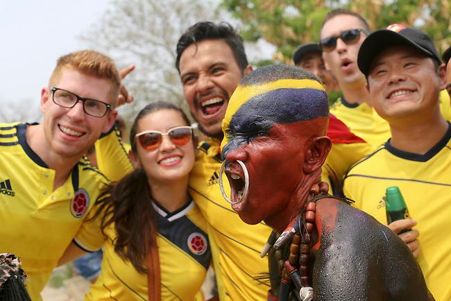 Hinchas de Colombia antes del partido de eliminatorias para el Mundial de F&uacute;tbol 2018 contra Ecuador en el Estadio Metropolitano Roberto Melendez de Barranquilla el 29 de marzo de 2016.<br /> <br /> Foto: Archivolatino<br /> <br /> COPYRIGHT: Archivolatino<br /> Prohibido su uso sin autorizaci&oacute;n.
