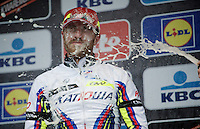 champaign-fest for race winner Luca Paolini (ITA/Katusha)<br /> <br /> 77th Gent-Wevelgem 2015