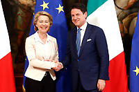 Ursula von der Leyen and Giuseppe Conte<br /> Rome August 2nd 2019. The Italian Prime Minister  meets the newly elected President of the European Commission.<br /> Foto Samantha Zucchi Insidefoto