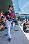 31 May 2018: New Hampshire Fisher Cats infielder Bo Bichette walks to the steps of the dugout during a game against the Portland Sea Dogs at Northeast Delta Dental Stadium in Manchester, NH. The Sea Dogs defeated the Fisher Cats 12-9 in extra innings. Mandatory Credit: Ed Wolfstein Photo *** RAW (NEF) Image File Available ***