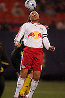 NY Red Bulls midfielder (13) Clint Mathis scores on this header in the 51st minute against the Columbus Crew at Giants Stadium, East Rutherford, NJ, on May 19, 2007. The Red Bulls defeated the Crew 4-0.