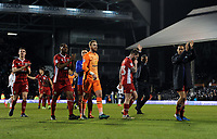 Blackburn Rovers salute their fans after the 2-2 draw with Fulham<br /> <br /> Photographer /Ashley WesternCameraSport<br /> <br /> The EFL Sky Bet Championship - Fulham v Blackburn Rovers - Tuesday 14th March 2017 - Craven Cottage - London<br /> <br /> World Copyright &copy; 2017 CameraSport. All rights reserved. 43 Linden Ave. Countesthorpe. Leicester. England. LE8 5PG - Tel: +44 (0) 116 277 4147 - admin@camerasport.com - www.camerasport.com