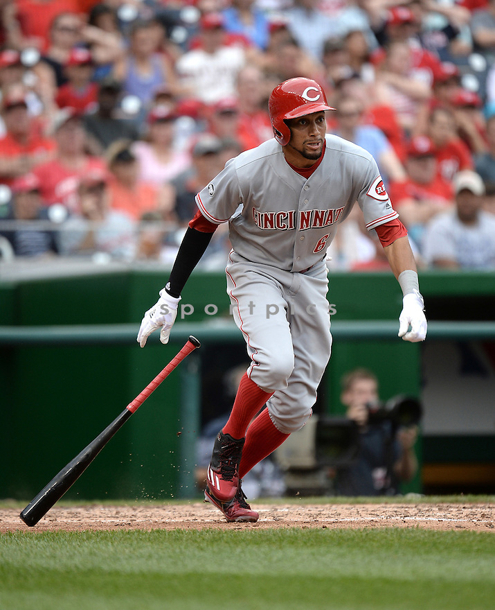 Cincinnati Reds Billy Hamilton (6) during a game against the Washington Nationals on July 3, 2016 at Nationals Park in Washington DC. The Nationals beat the Reds 12-1.