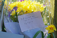 Pictured: Flowers and tributes left at Ystrad Mynach Park in south Wales, UK. Saturday 13 April 2019<br /> Re: A 13-year-old boy, named locally as Carson Price,  has died after being found unconscious in Ystrad Mynach Park, Caerphilly County, at about 7.20pm on Friday 12 April.<br /> The teen was taken to University Hospital of Wales in Cardiff where he was pronounced dead.